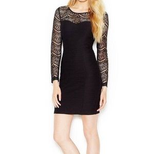 EUC Guess bodycon lace long sleeve dress